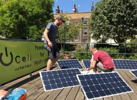Nick and James with the solar panels